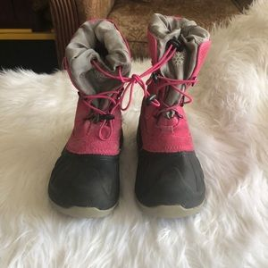 UGG Girls Ludvig Pink and Gray Snow Boots Size 1